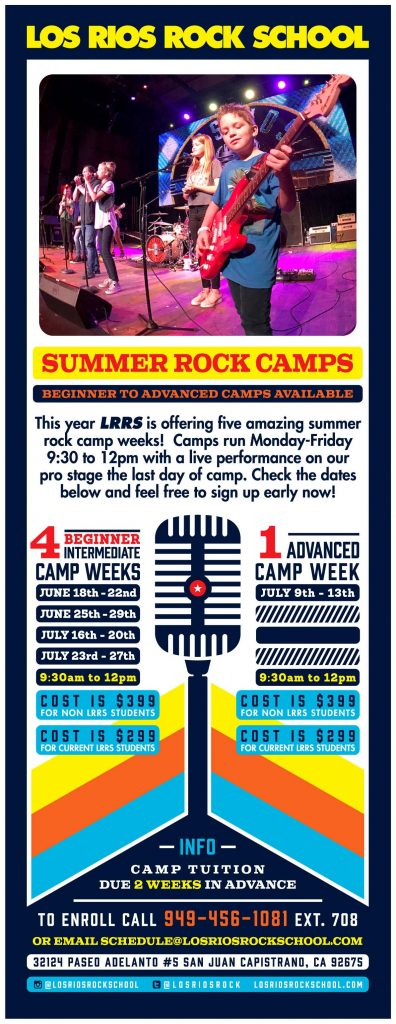 Los Rios Rock School summer rock camps for beginners and advanced students